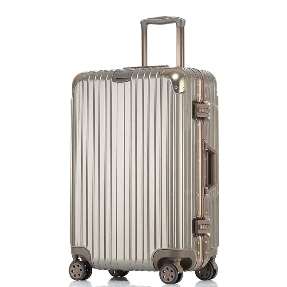 防水および耐久力のある車輪のアルミニウムフレーム旅行トロリー箱、ビジネス搭乗パスワードボックス (Color : Titanium Gold, Size : 22 inch)   B07RBRKMTM