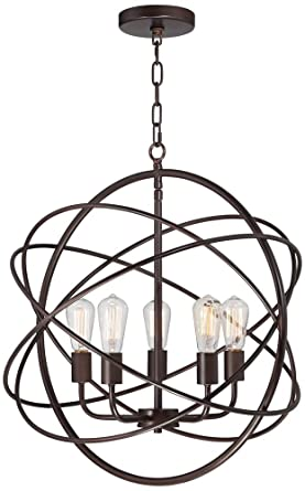 4 Wide 5 Light Bronze Sphere Foyer Pendant