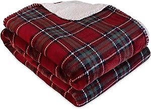 "Berkshire Blanket Holiday Nottingham Plaid Reversible Sherpa Throw, 50"" x 60"""