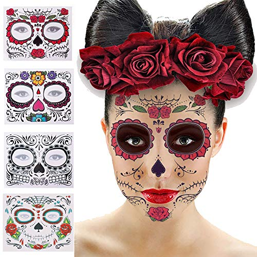 4 Pack Halloween Face Tattoo Sticker, Xplanet Halloween