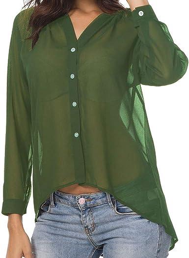 OPAKY Camisa Casual sin Collar de Manga Larga con Botones de Verano y Camisa de Gasa