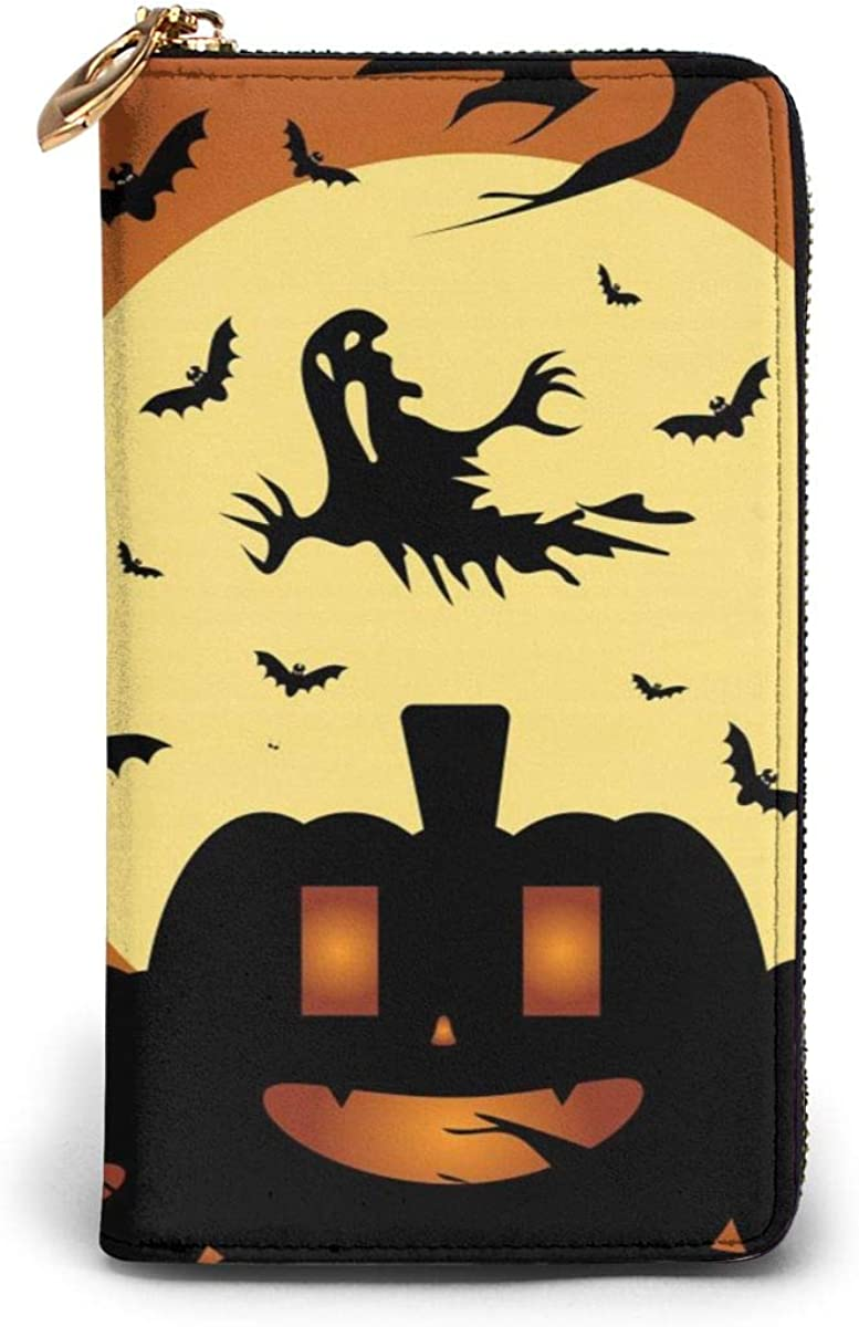 Genuine Leather Wallet Long Ladies Purse Handbag Multi Card Holder Organizer For Women Halloween Background With Pumpkins Ghost And Bats Customized