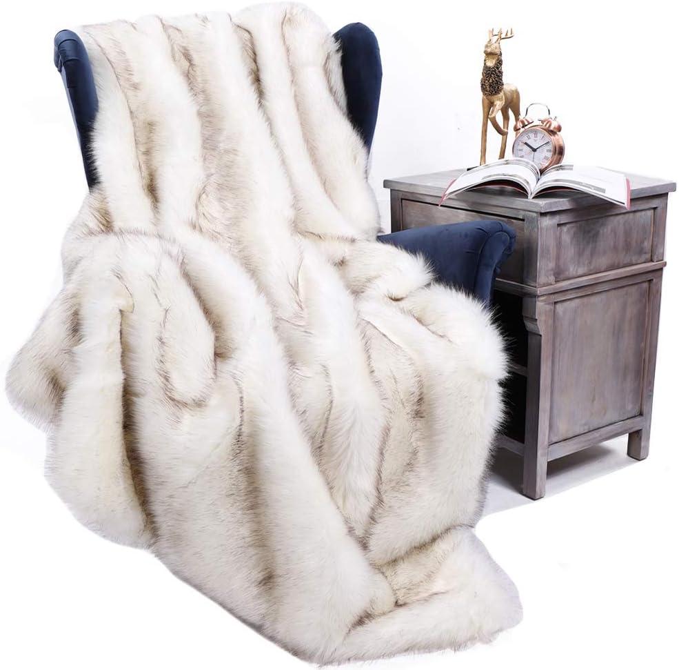 BATTILO HOME 60 x 80 Inches Home Decorative Sofa Bed Luxury Fox Faux Fur Throw Blanket