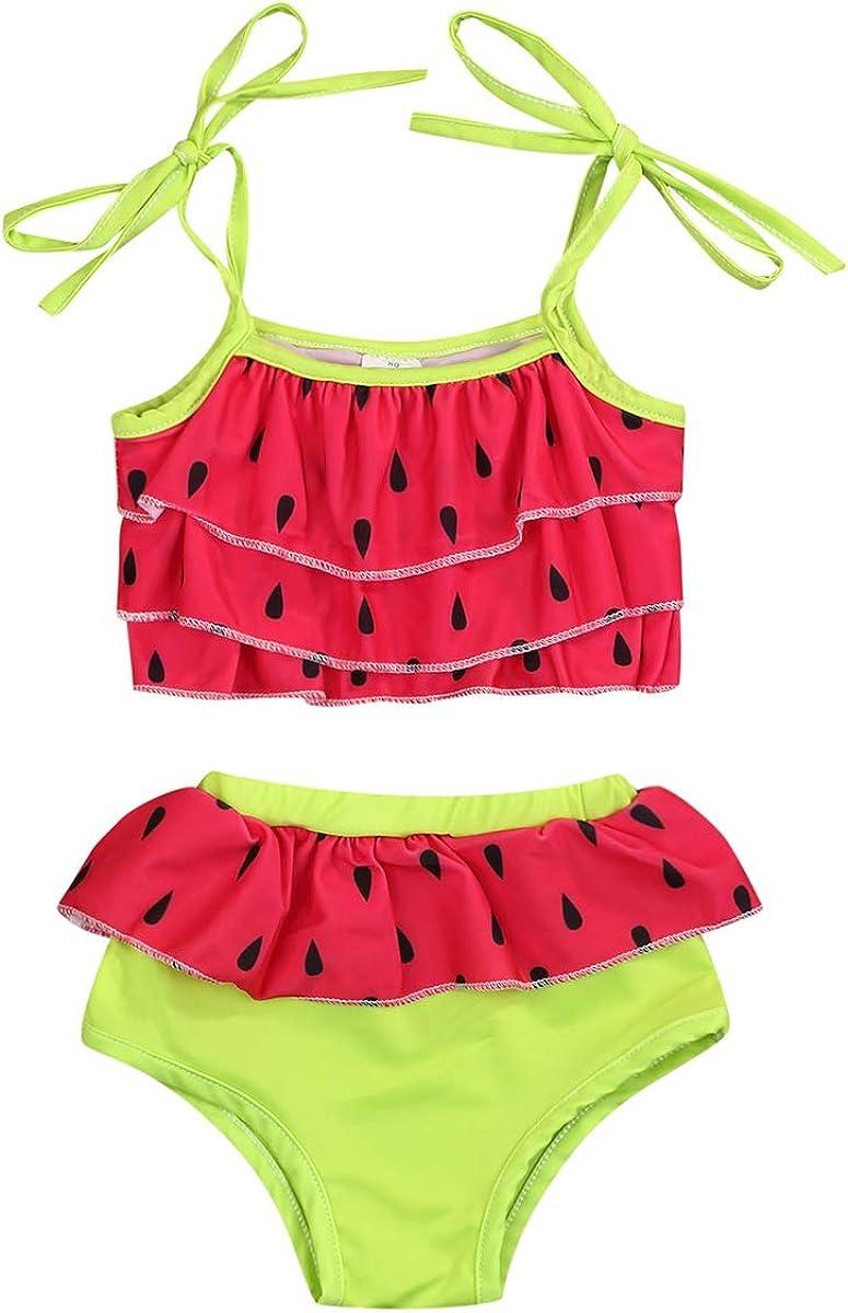 Infant Baby Girls Swimsuit Casual Summer Tassel Sling Top+Headband+Watermelon Print Short