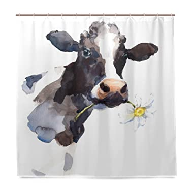 ALAZA Milk Cow with A Daisy Flower Shower Curtain Polyester Fabric Curtain with 12 Hooks Custom Waterproof Bathroom Decor,72 x 72 inch …