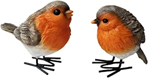 UXMOO Polyresin Garden Robin Birds S/2 Ornaments Backyard Decor Statues for Yard and Patio Lawn Cute Birds Indoor Outdoor Home Decoration Figurines Animal Statue Sculpture-92