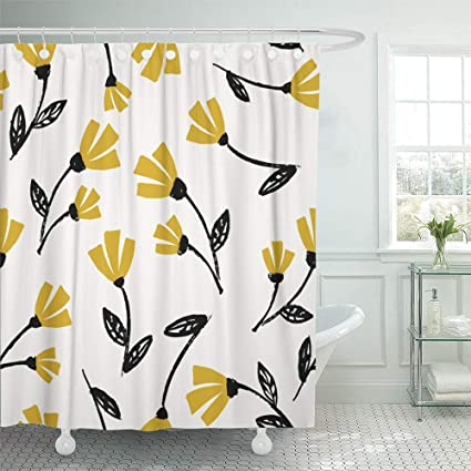 Emvency Decorative Shower Curtain Flowers Pattern In Black Mustard Yellow And Cream Beautiful Floral Wall Design