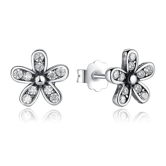 Blüte Blume Daisy Design Ohrringe Ohrstecker Stecker 925 Sterling Silber neu