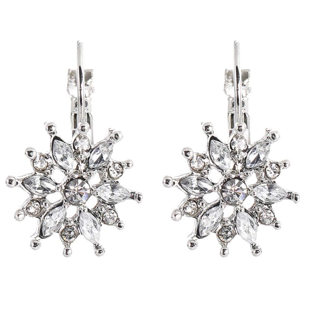 1 Paio Snowflake Orecchino Orecchini Pendente di Cristallo Breve Orecchini Orecchio Gioielli Hole Regali di Natale per Le Donne