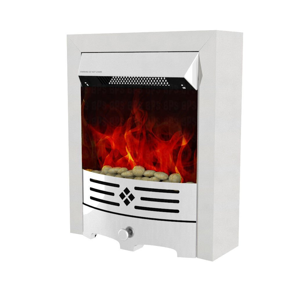 Garden Mile® 2Kw Stainless Steel Electric Fire, Stylish Electric Fireplace Safe LED Flame Effect Fire Contemporary Fireplace, Free Standing Electric Room Heater