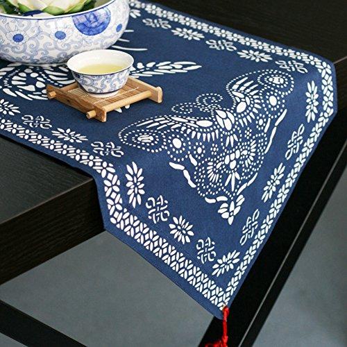 75in Pendant - DHSNJKL Table runner/cotton pendant,blue printing-table runner/table cloth/table cloth/table cloth/bed runner-A 34x190cm(13x75inch)