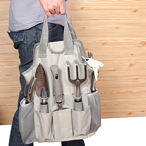 Garden Tool Set 9 Piece- Includes Garden Tote, Spray Bottle, Work Gloves and 6 Heavy Duty Stainless Steel Hand Tools by WayWay Life (Image #3)