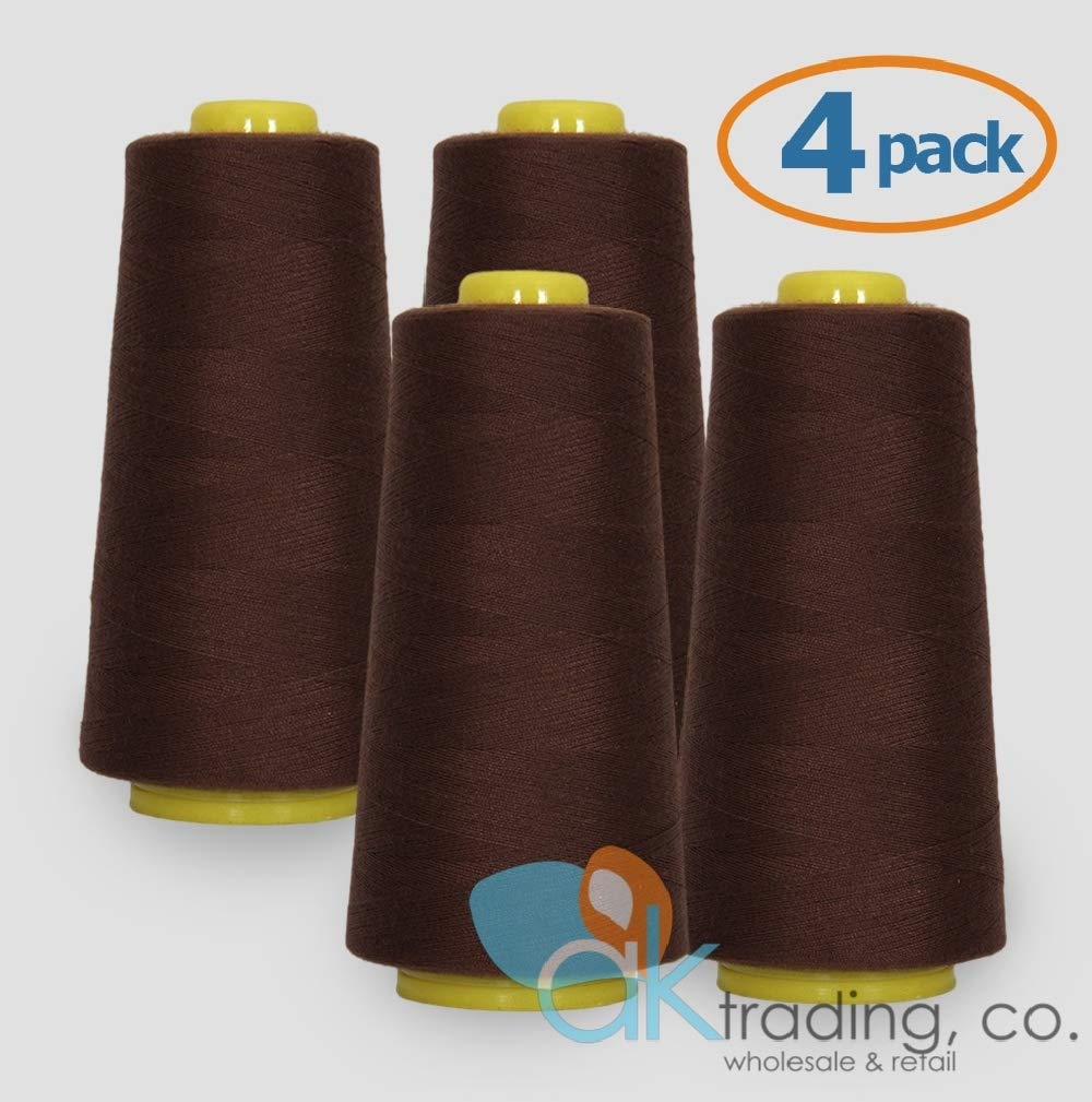 Serger 6000 yards each AK TRADING 4-Pack IVORY Serger Cone Thread Quilting of Polyester thread for Sewing