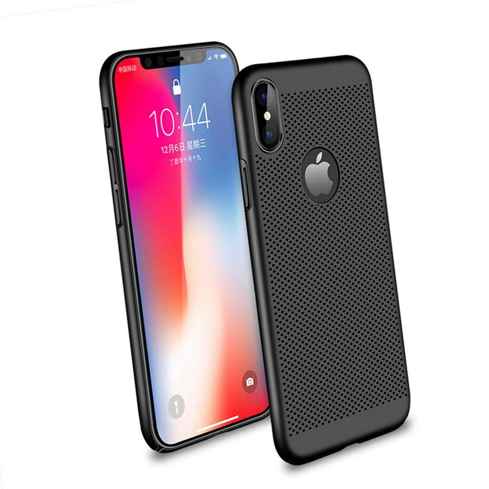 iPhone Xs Case/iPhone X Case, Ultra Slim/Thin Lightweight Breathable Cooling Mesh Case,Compatible with iPhone X/iPhone Xs 5.8 inch(Black)