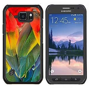 TECHCASE---Cubierta de la caja de protección para la piel dura ** Samsung Galaxy S6 Active G890A ** --Plumas del loro del arco iris Pájaro colorido