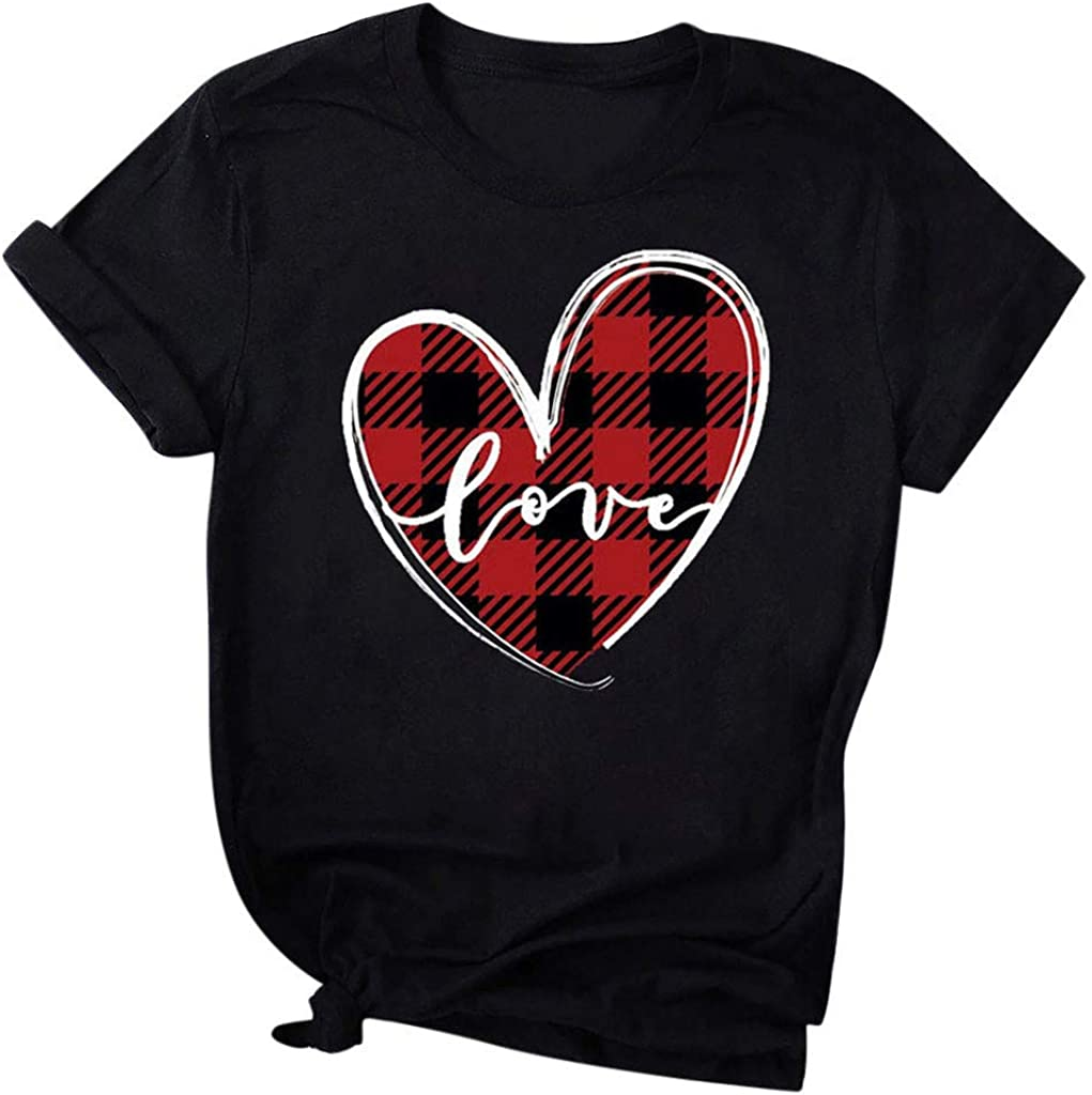 Love Heart Plaid Short Sleeve Tops Blouse T-Shirt Tee Scenxion Womens Printed T-Shirt for Valentines Day