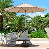 FRUITEAM Umbrella Base Heavy Duty Stand Pole Holder Water Filled 50LB Outdoor Patio Umbrella Base 1.5-inch Thickened Steel Pole Round Base for 6-9Ft Straight-Pole Garden Umbrellas