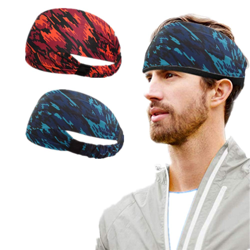 Workout Gym Exercise Yoga Chagar Sports Headband for Mens,Sweat Wicking Athletic Head Wrap Bands Fit Over Hair Head Band Sweatband for Running