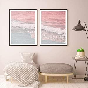 Beach Prints Beach Surf Wall Art Canvas Painting Ocean Wave Poster Pastel Pink Blue Wall Pictures for Living Room Home Decor 60x80cmx2 Unframed