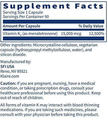 Klaire Labs Ultra K2 Menatetrenone - Hypoallergenic 15 mg (15000 mcg) Vitamin K2 MK4 for Cardiovascular & Bone Health, Soy & Gluten-Free (90 Capsules) by Klaire Labs (Image #3)