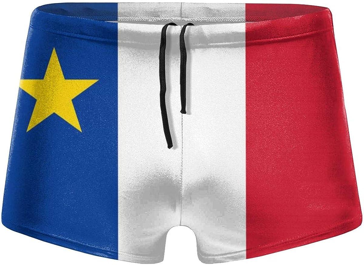 PB-ZINAN Mens Acadian Day Flag Swim Briefs Swim Trunks Short Boxer Briefs Swimming Pants Swimwear Beach Shorts