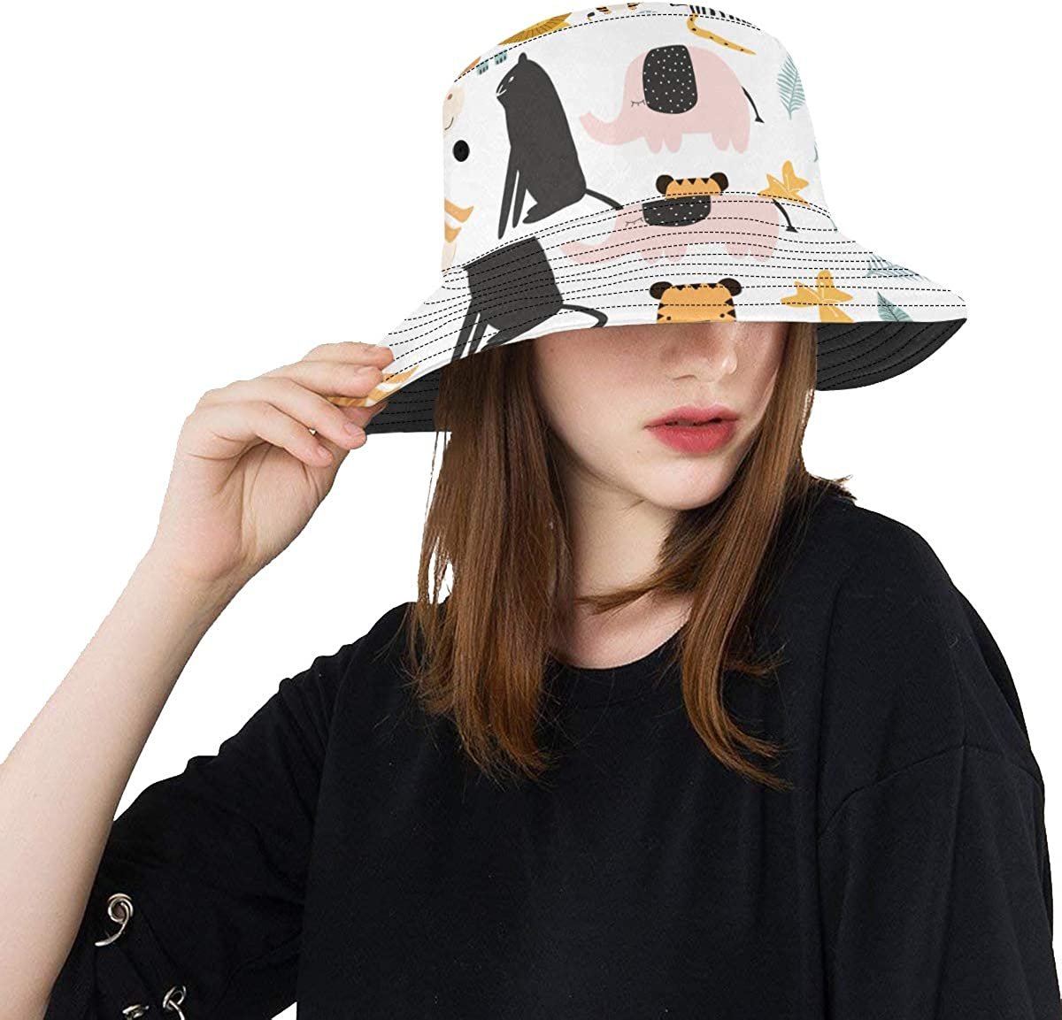 Zoo Animals Collection Cartoon New Summer Unisex Cotton Fashion Fishing Sun Bucket Hats for Kid Teens Women and Men with Customize Top Packable Fisherman Cap for Outdoor Travel