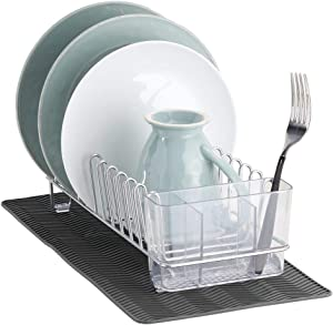 mDesign Compact Kitchen Countertop, Sink Dish Drying Rack and Silicone Drying Mat - Drain and Dry Wine Glasses, Bowls, Dishes - Set of 2, Wire Drainer in Chrome with Charcoal Gray Heat-Safe Mat