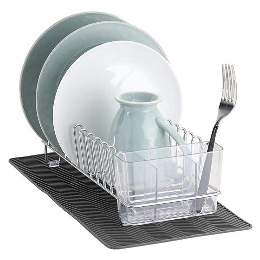 mDesign Escurridor de platos y vasos de metal - Con cesta para ...