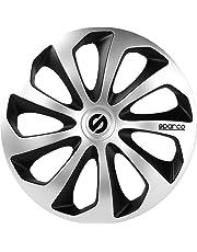 SPARCO SPC1573SVBK Sicilia Wheel Covers, Silver/Black, Set of 4, 15