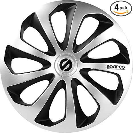 Amazon.com: Sparco SPC1673SVBK Sicilia Wheel Covers, Silver/Black, Set of 4, 16