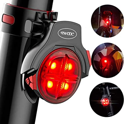 Bicycle MTB Bike Tail Light LED Cycling Safety Rear Lamp USB Smart Brake Warning