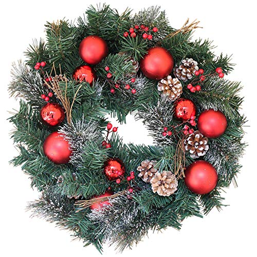Decorated Xmas Door Wreath, 22 Inch, RedcOrnaments and Pine Cones