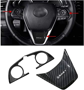 For Toyota Camry 2018 Carbon Fiber Interior Steering Wheel button frame Cover US