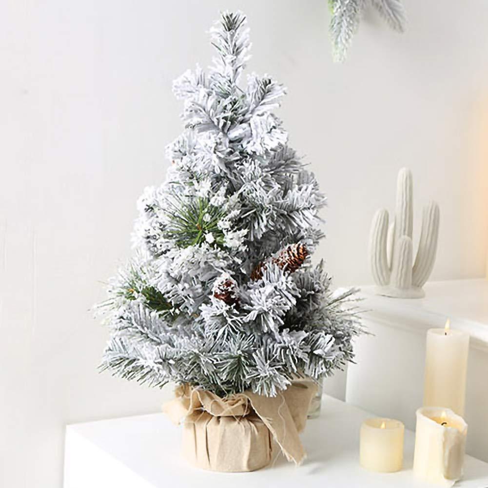 WISREMT Mini albero di Natale 40 cm Decorazioni da tavolo artificiali Albero di Natale bianco artificiale per la tua casa o ufficio Regali per bambini