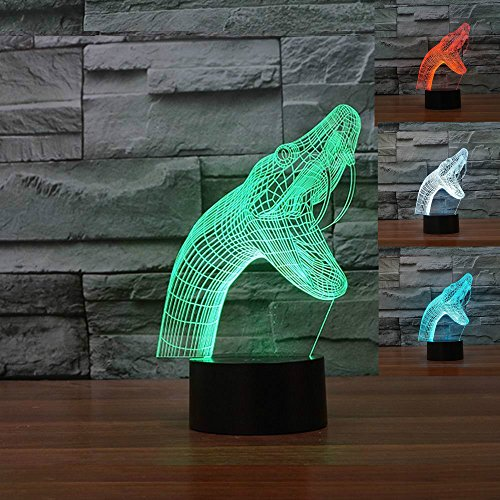 SUPERNIUDB New Type 3D Snake Night Light Table Light 3D Lamp Table Lamp 3D LED USB 7 Color Change LED Table Lamp Xmas Toy Gift