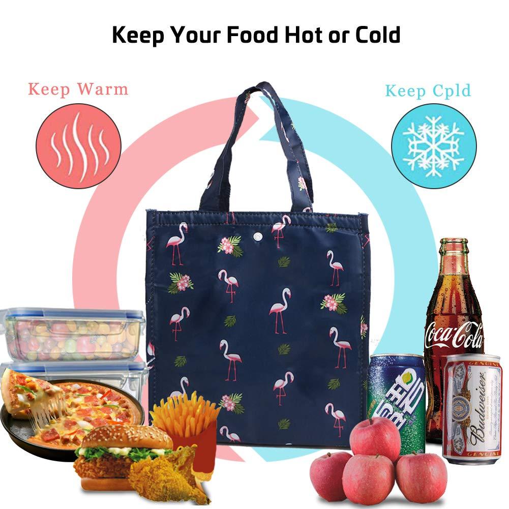 uomo scuola picnic bambina da donna da donna GonLei borsa termica B Fenicottero blu Borsa termica termica termica per il pranzo da cucina adulto per uso esterno