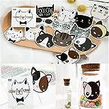 45PCS Box Set of Kawaii Cat Kitty Head Mini Paper Label Stickers DIY Diary Album Stick Decor Lot