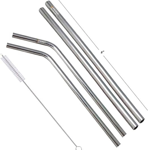 Prisha India Craft Eco-Friendly Bent Drinking Stainless Steel Cocktail Straws Length 8.00 INCH Best for Parties Barware | Set of 6