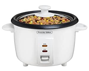Proctor Silex (37534NR) Rice Cooker 4 Cups uncooked resulting in 8 Cups cooked, Mini, White