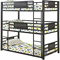 Coaster Rogen Collection 460394T Twin Size Triple Bunk Bed with Built-In Ladder Slat Sides and Steel Construction in Dark Bronze