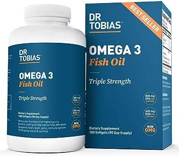Dr. Tobias Omega 3 Fish Oil Triple Strength Burpless (180 Softgels)