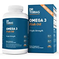 Dr Tobias Omega 3 Fish Oil Triple Strength, 2,000mg, Burpless, Non-GMO, NSF-Certified...