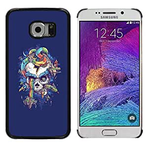 Paccase / SLIM PC / Aliminium Casa Carcasa Funda Case Cover - Purple Rainbow Skull Snake Blue - Samsung Galaxy S6 EDGE SM-G925