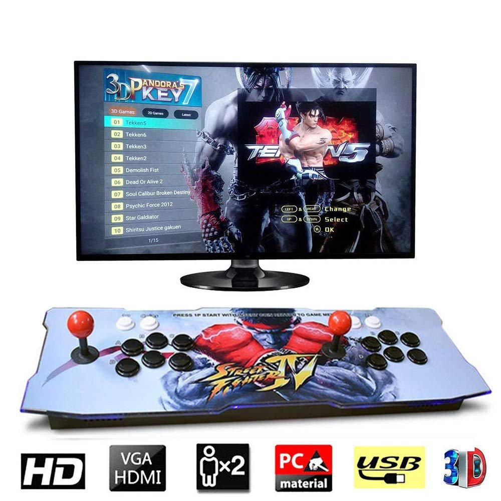 PinPle Arcade Game Console 1080P 3D & 2D Games 2350 2 in 1 Pandora's Box 3D 2 Players Arcade Machine with Arcade Joystick Support Expand Games for PC / Laptop / TV / PS4 (Arcade Classic)