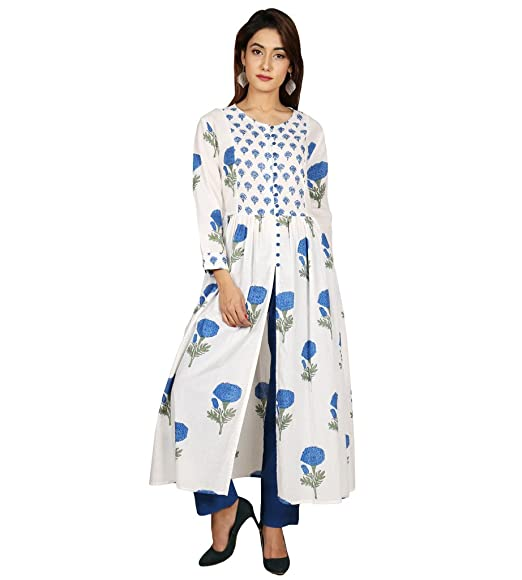 2f53a430ab562 Missprint White and Blue Hand Block Printed Cape Kurta: Amazon.in: Clothing  & Accessories