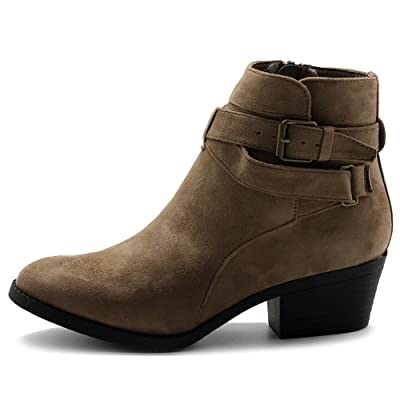 Ollio Women's Shoes Faux Suede Buckle Straps Stacked Heel Ankle Boots | Ankle & Bootie