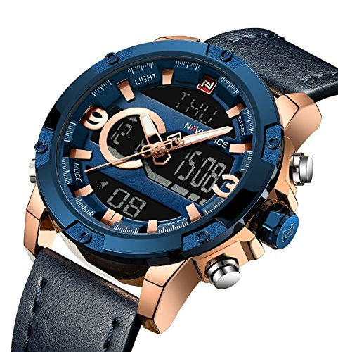 Tonnier Genuine Leather Band Analog Digital LED Dual Time Display Mens Watch (Deep Blue&Gold)
