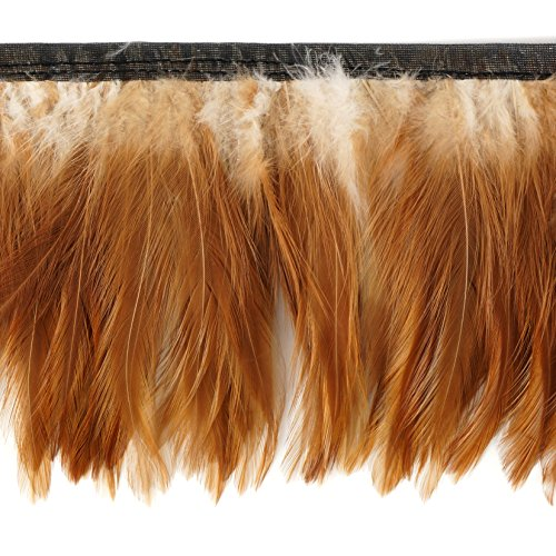 Zucker Feather Products Hackle Feather Fringe Trim - 1 yd Natural Red Costume Sewing Craft -