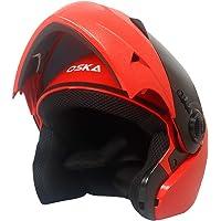 Steelbird SB-41 Oska Classic Flip Up Helmet Full Face Bike Riding Helmets For Man (620MM XLarge, Classic Red With Smoke Visor - Geared With Flip Up Down Feature -Aerodynamics Design)