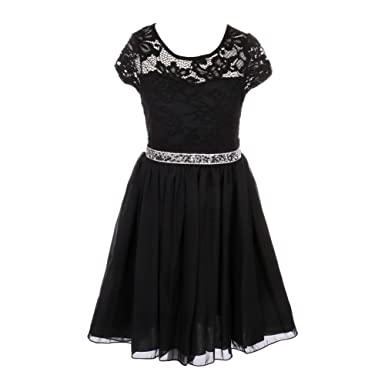 75b907318d79 Amazon.com  Just For Kids Little Girls Black Lace Stone Belt Chiffon ...